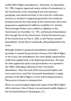 The United States Bill of Rights Handout