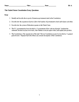 The United States Constitution Discussion/Essay Questions