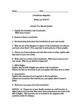 The United States' Constitution - Fifth Grade Research