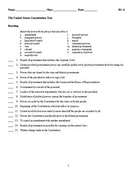 The United States Constitution Test