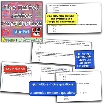United States Constitution Unit Test! 47 questions for Constitution! Google 1:1!