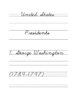 The United States Presidents Cursive Copywork