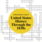 United States History Through the 1830s Crossword Puzzle