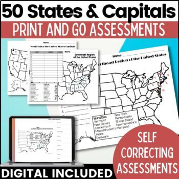 The United States & Capitals Geography Printables & Assessments