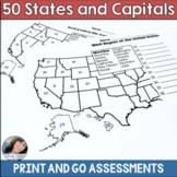 50 States and Capitals Test Printouts