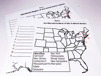 The United States and Capitals Geography Northeast Region Freebie Sample