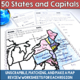 50 States and Capitals Review Activities