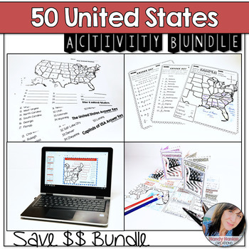 The United States and Capitals Geography Review Activities and Assessment Bundle