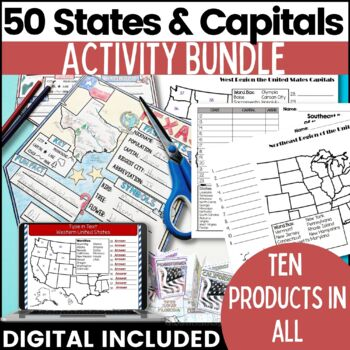 The United States and Capitals Geography Assessment Bundle