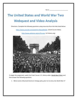 The United States and World War Two- Webquest and Video Analysis with Key