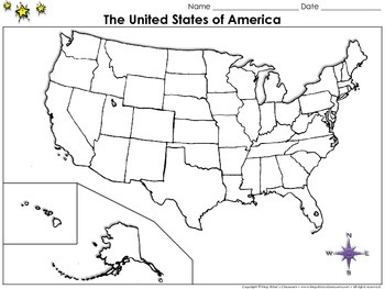 The United States of America Map Blank Full Page King