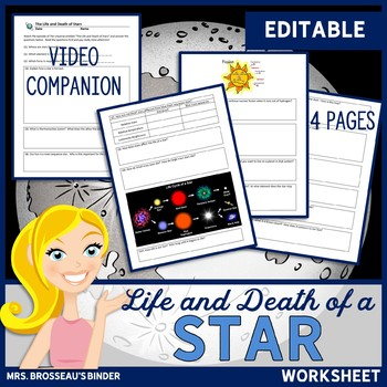 The Universe: Life and Death of a Star Worksheet