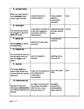 The Universe - Reading Quiz + Vocab Sheet + Text Elements