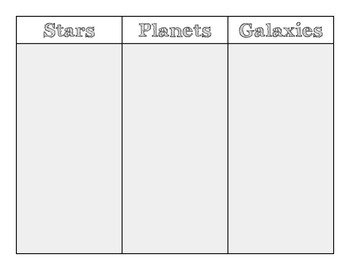 The Universe:  Stars, Planets and Galaxies Information Chart Graphic Organizer