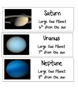 The Universe Vocabulary Word Wall Words