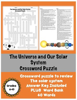 The Universe and Solar System Review Crossword Puzzle