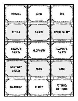 The Universe and Space Vocabulary Sort