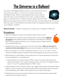 The Universe is a Balloon! (Hubble's Law Activity)