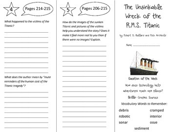 The Unsinkable Wreck of the RMS Titanic Trifold - Reading St 5th Gr U 5 Week 2