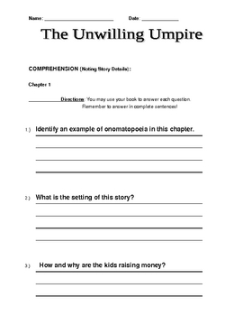 The Unwilling Umpire (A to Z Mysteries) Comprehension Questions