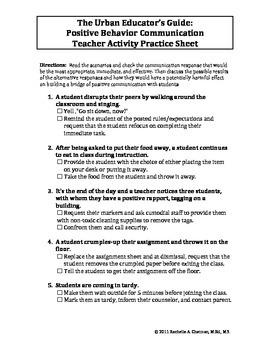 The Urban Educator's Guide: Positive Behavior Communication Sheet