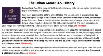 The Urban Game: US History W/ Game Instructions, Powerpoint, Reflection Handout