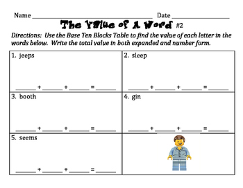 The Value of A Word - Practice Writing Numbers in Expanded and Standard Forms