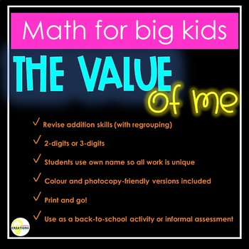 The Value of Me - Addition with regrouping