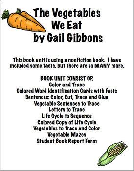 The Vegetables We Eat Book Unit