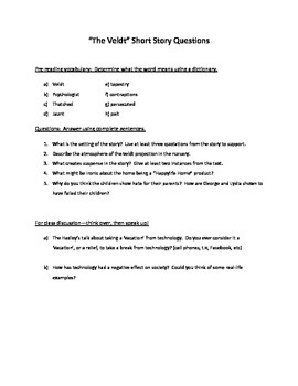 """""""The Veldt"""" Short Story Questions and Assignment"""