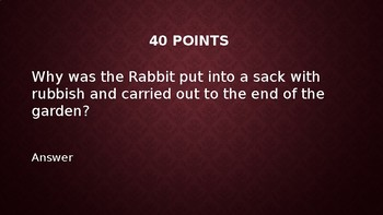The Velveteen Rabbit - Jeopardy Review Game