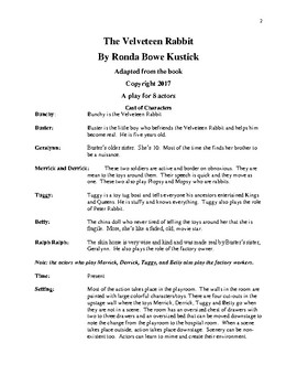 The Velveteen Rabbit adapted for the stage by Playwright Ronda Bowe Kustick