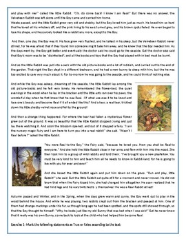 The Velveteen Rabbit by Margery Williams Bianco - Easter Reading Comprehension