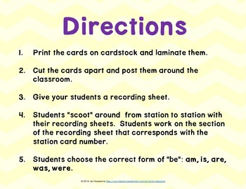 """The Verb """"Be"""" Grammar SCOOT or Task Cards"""