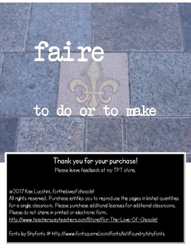 The Verb Faire (to do/ to make) FRENCH