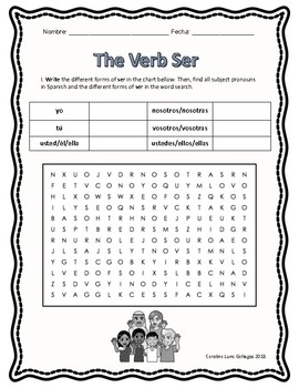 Spanish: The Verb Ser (to be) Present Tense Conjugation Practice - Worksheets