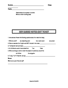 The Verb Ser: Introductory Guided Notes and Exit Ticket