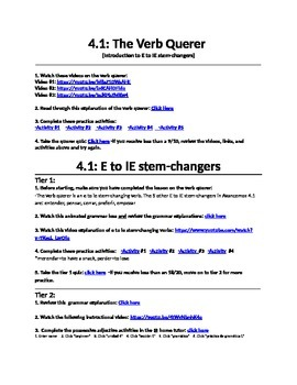 "The Verb ""querer"" and E to IE Stem Changers Internet Activities"