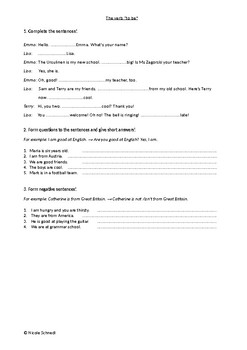 The Verb 'to be' - Exercise sheet