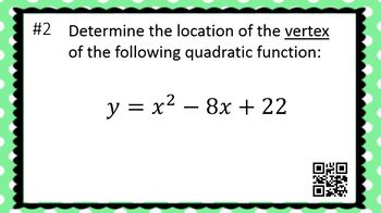 The Vertex of Quadratic Functions - Task Cards & Interactive Video Lesson!