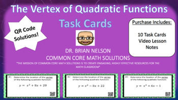 The Vertex of Quadratic Functions - Task Cards & Interacti