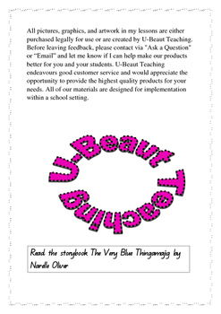 The Very Blue Thingamajig by Narelle Oliver  Comprehension Exercise
