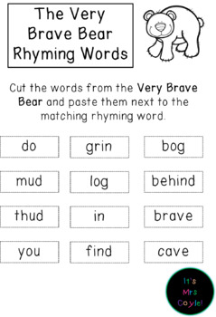 The Very Brave Bear Rhyming Word Cards