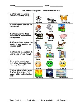 The Very Busy Spider Comprehension