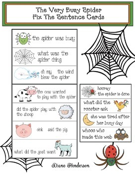 spider activities the very busy spider fixes a sentence by teach