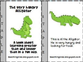 The Very Hungry Alligator - A mini book for understanding greater & lesser than