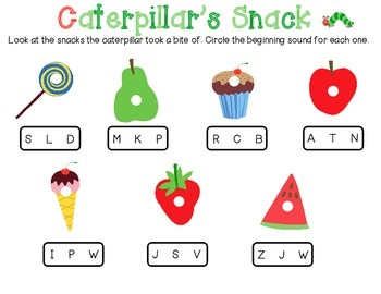 The Very Hungry Caterpillar Beginning Sounds Printable