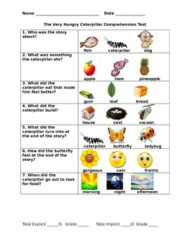 The Very Hungry Caterpillar Comprehension