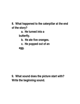 The Very Hungry Caterpillar Comprehension Test