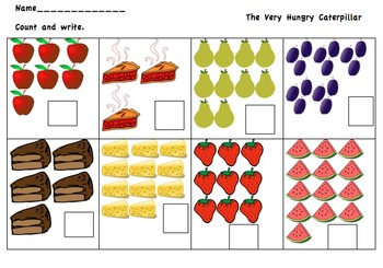 The Very Hungry Caterpillar Counting Worksheet
